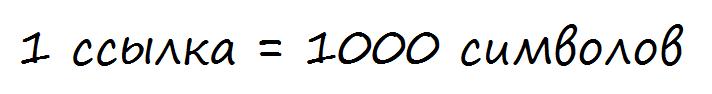 Количество символов на 1 ссылку