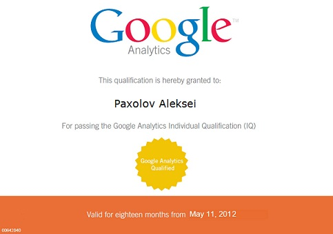 Certificate Google Analytics